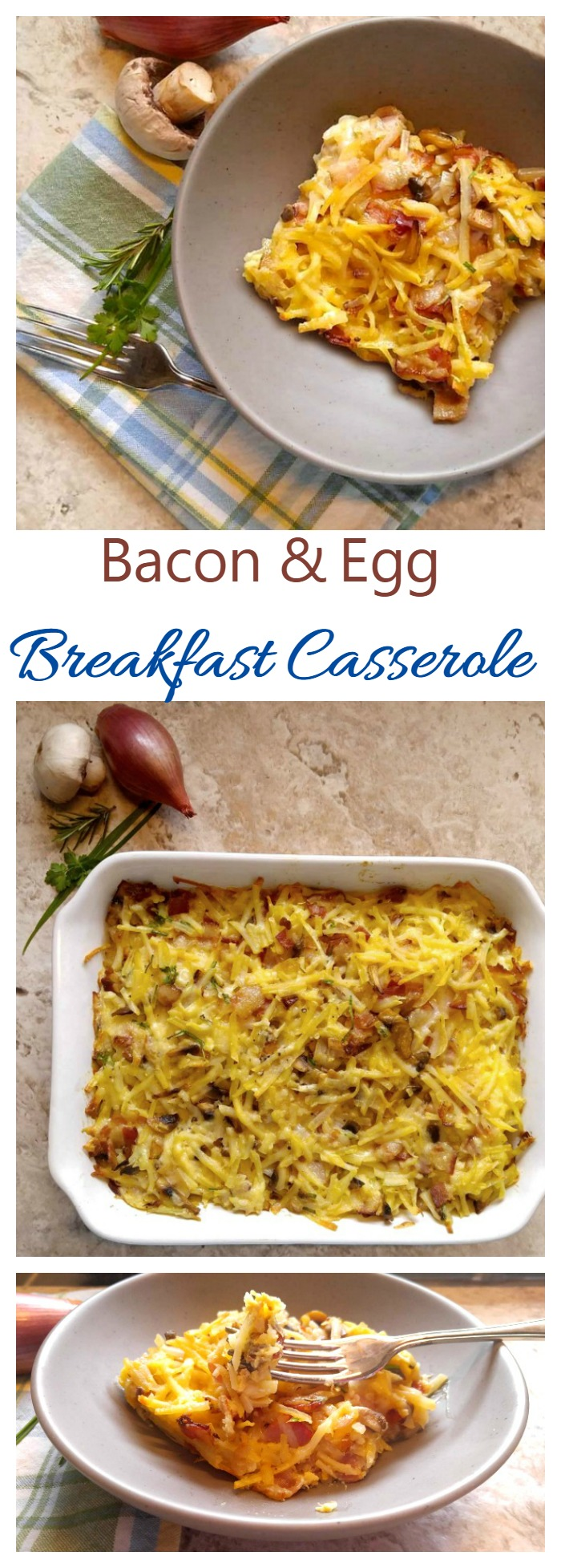 This loaded Bacon & Egg Breakfast Casserole is a delicious and hearty start to your day. The casserole is easy to make in about 30 minutes.