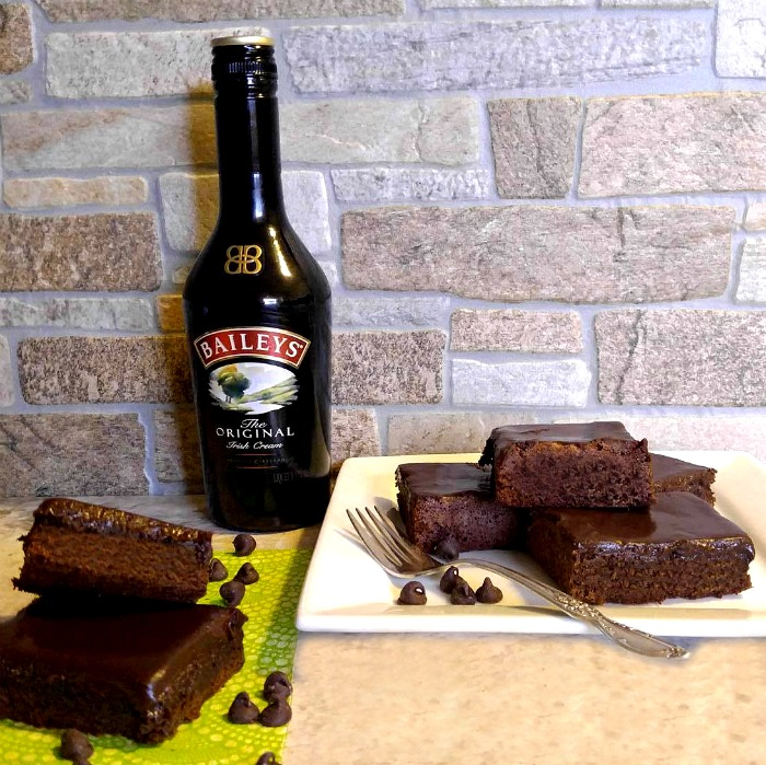 Bailey's Irish Cream Brownies and a bottle of Baileys'. The perfect combo!