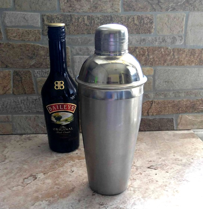 Bailey's Irish cream and a cocktail shaker.