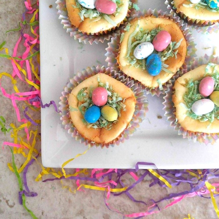 Crumb crust Easter Egg cheesecake mini desserts.