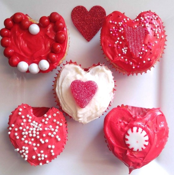Heart shaped cupcakes decorated for Valentine's Day