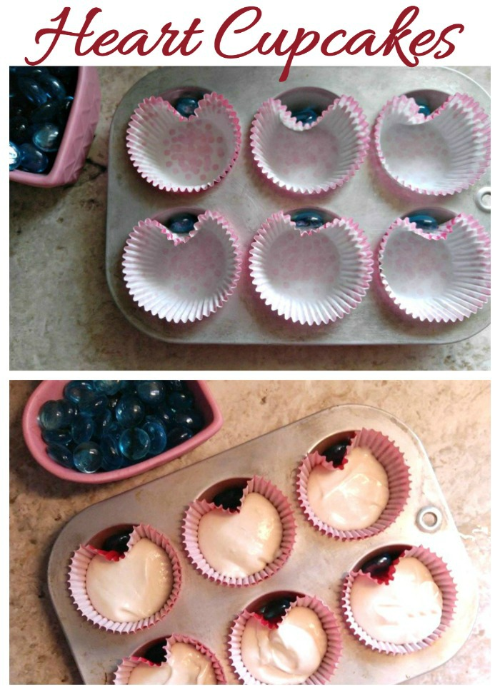 Make heart cupcakes easily with this marble trick.