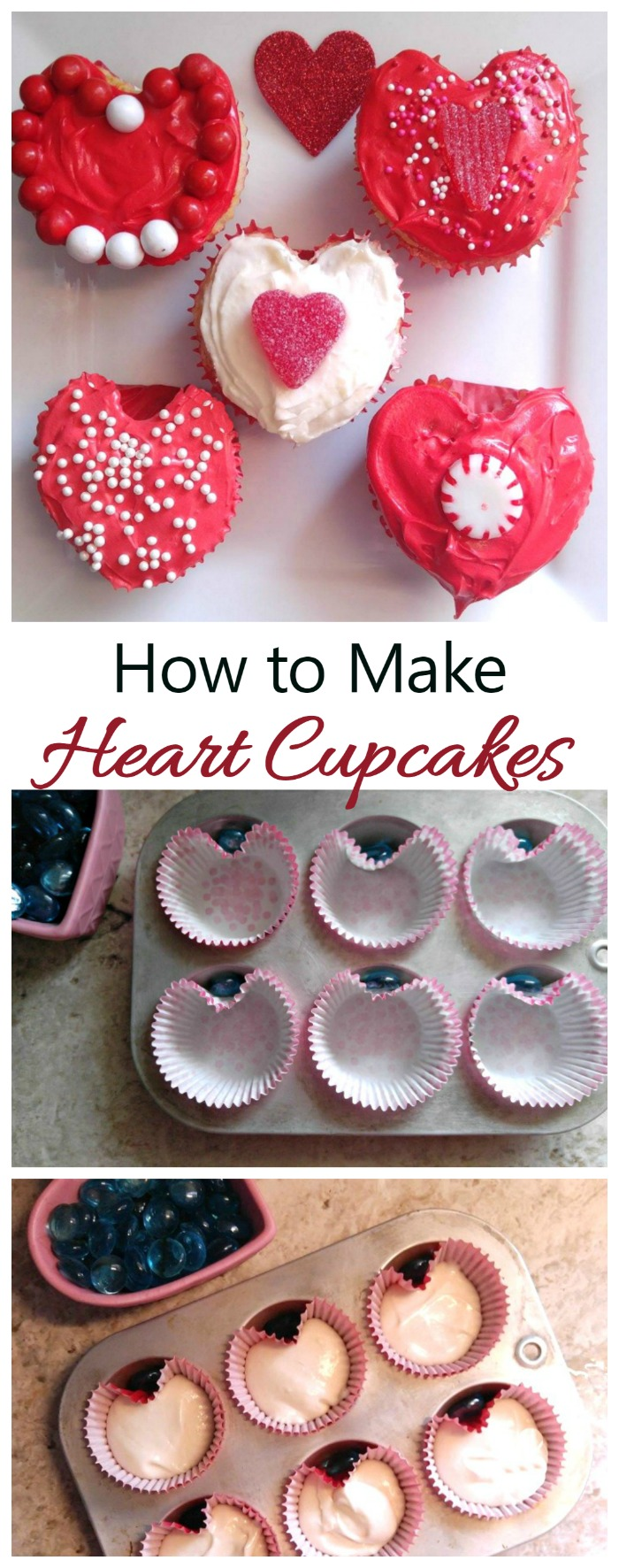 Heart Shaped cupcakes are fun for Valentine's Day. You can buy special cupcake liners or use marbles to make your own.
