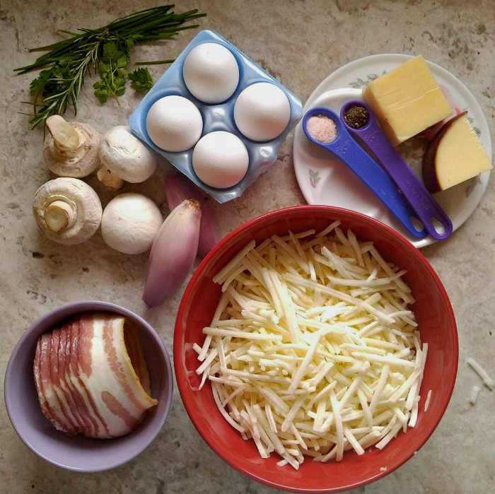Ingredients for Bacon and Egg Breakfast Casserole