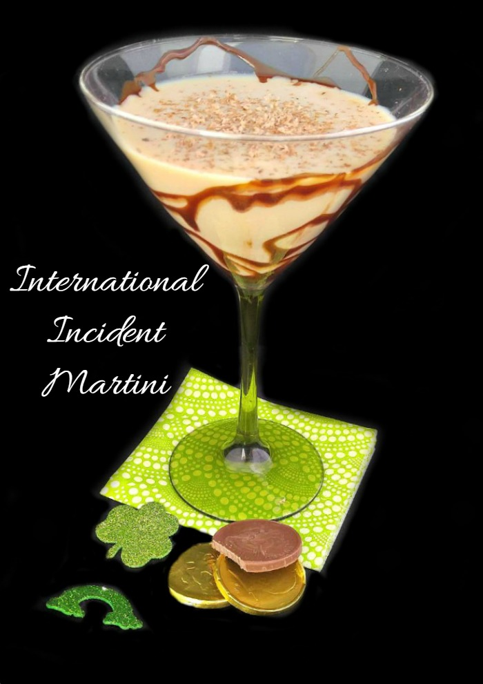This International Incident Martini combines spirits of several countries. It's a powerful cocktail that is perfect for St. Patrick's Day!