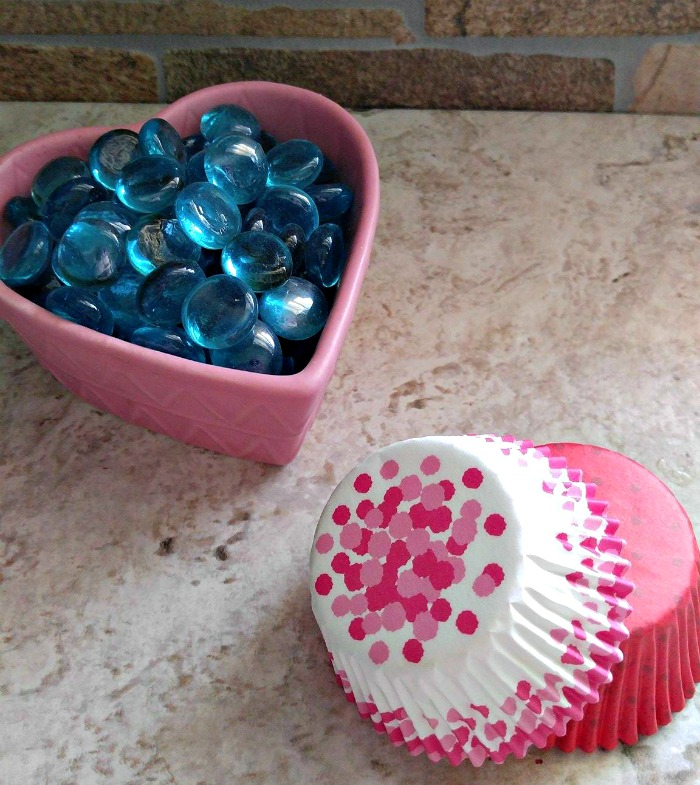 glass marbles and cupcake liners