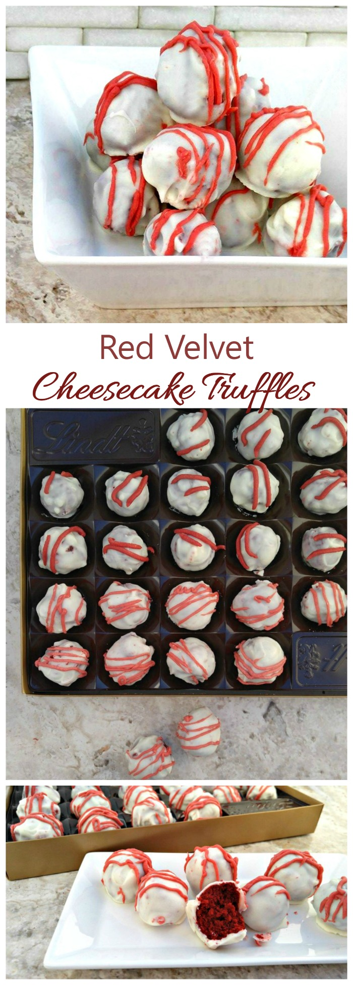 These red velvet cheesecake truffles have a cake center and creamy drizzled white chocolate coating. They are easy to make and perfect for any special occasion.