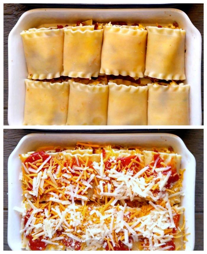 Roll ups in a casserole dish