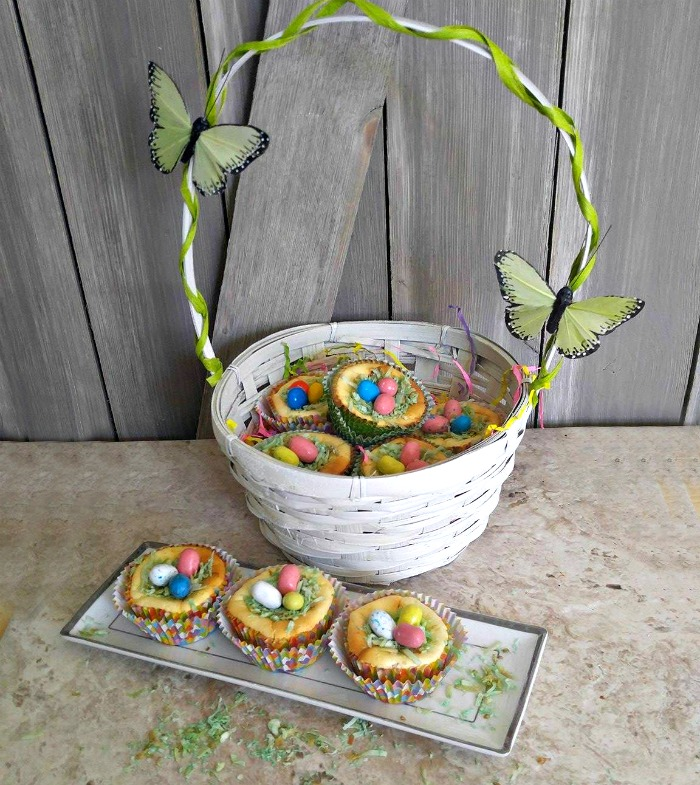 Basket of Easter Egg Nest Cheesecakes