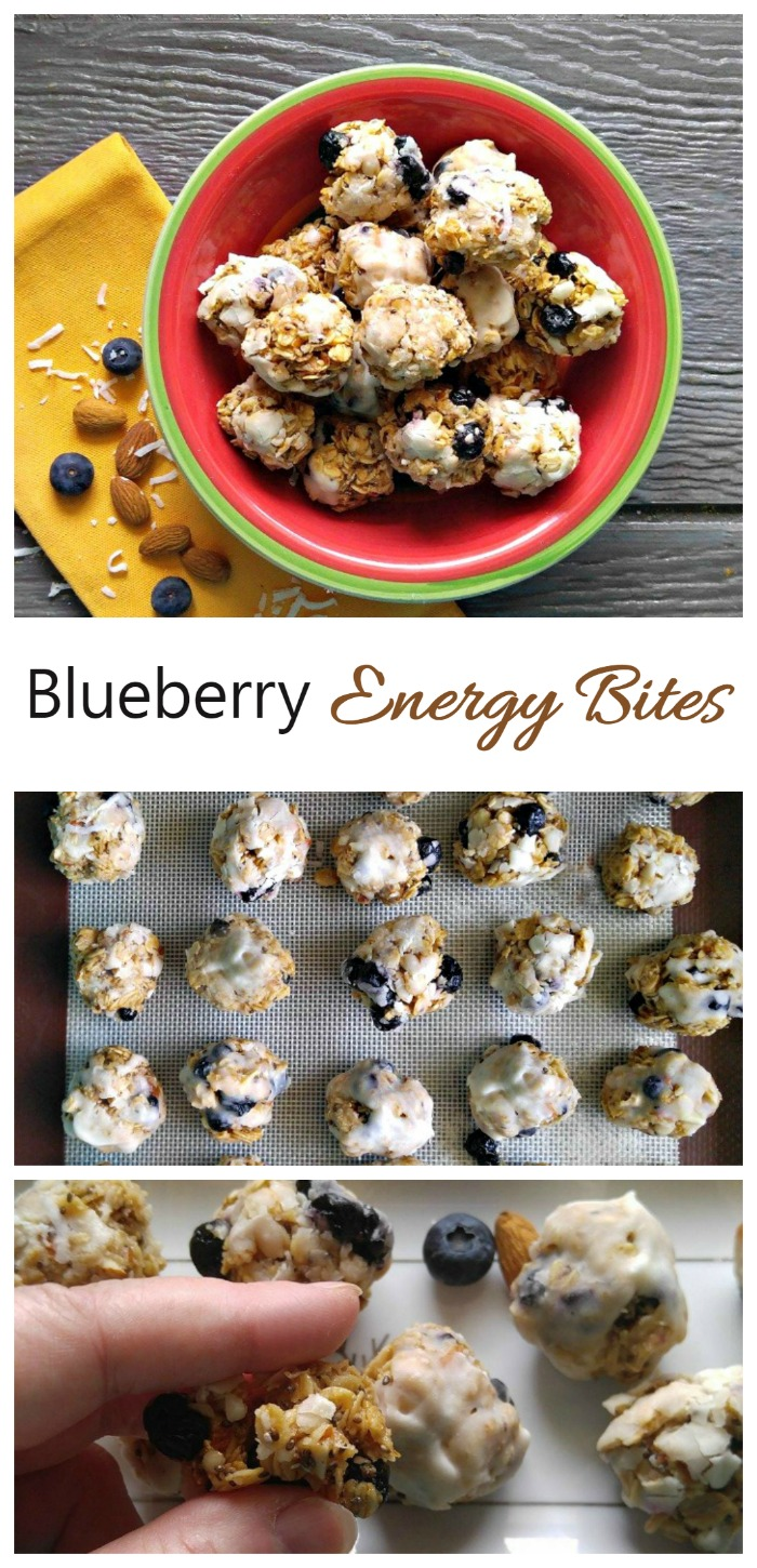These Blueberry Energy Bites make the perfect after workout snack. They are easy to make and super delicious.
