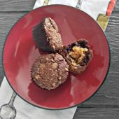 Chocolate Peanut Butter Muffin on a plate