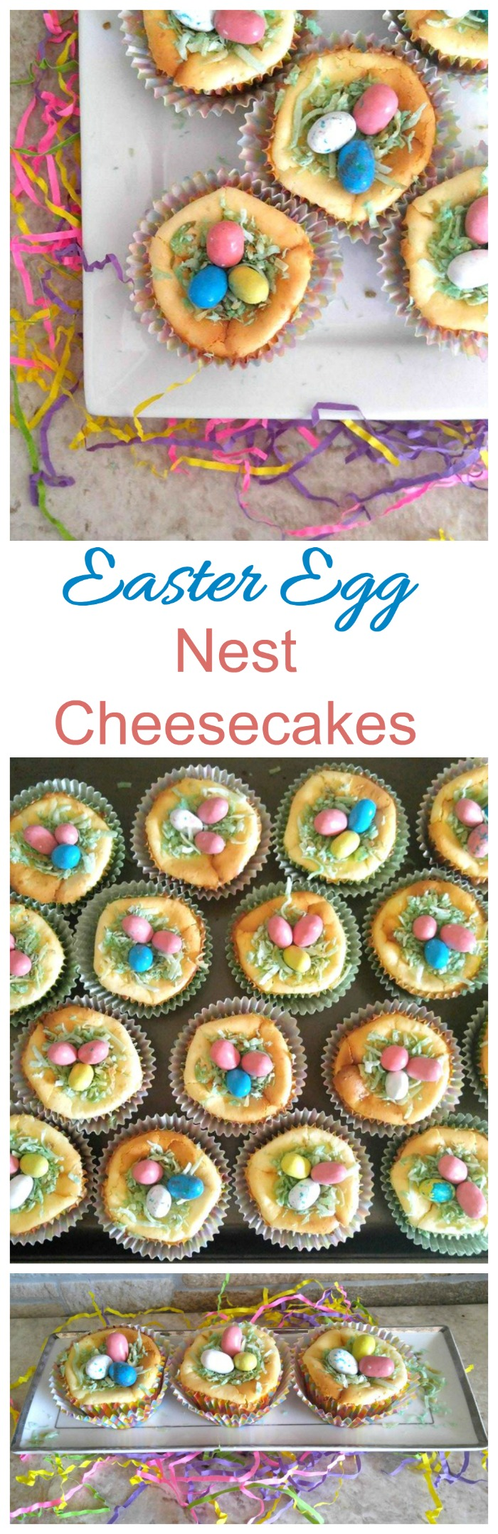 These Easter Egg Nest Cheesecakes are sure to be the hit of your Easter dessert table. They are super easy to make and so delicious!
