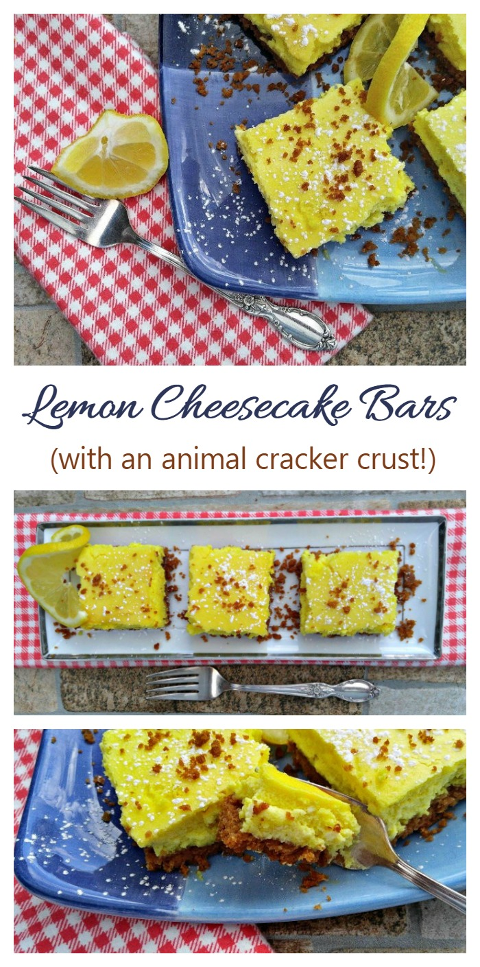 These lemon cheesecake bars are unbelievably light and fluffy. They have a fun animal cracker crusts and are really easy to make.