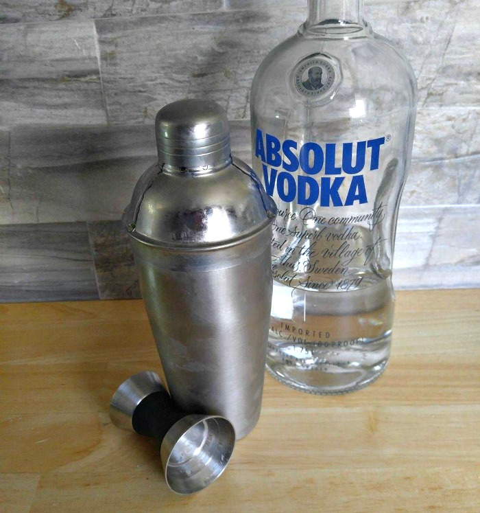 Vodka into the martini shaker
