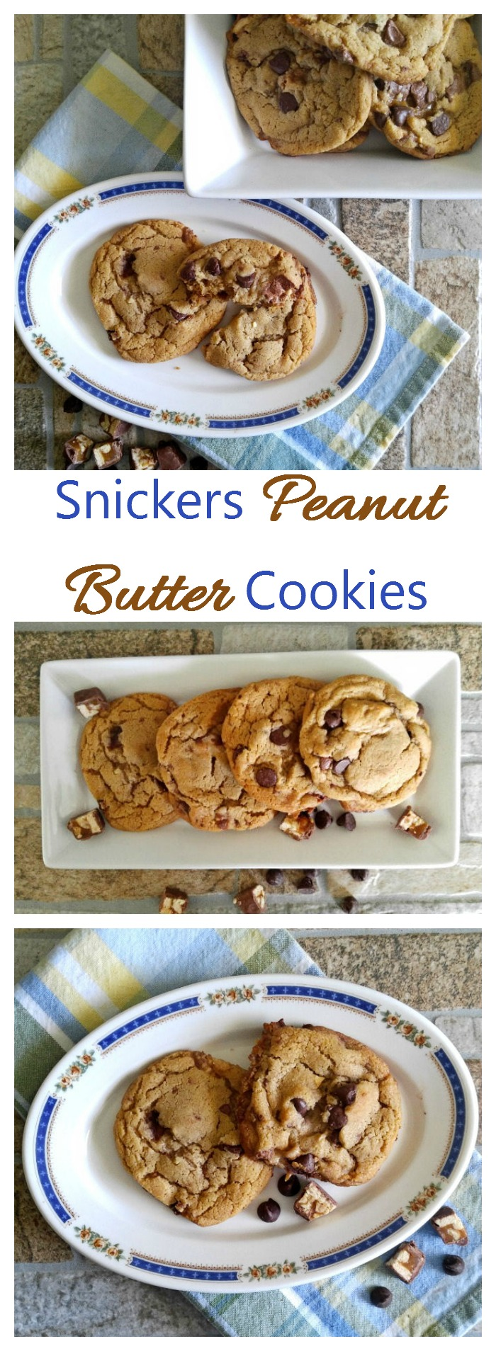 These Snickers peanut butter cookies are a wonderful blend of peanut butter, chocolate and shopped up Snickers mini candy bars. Yum!