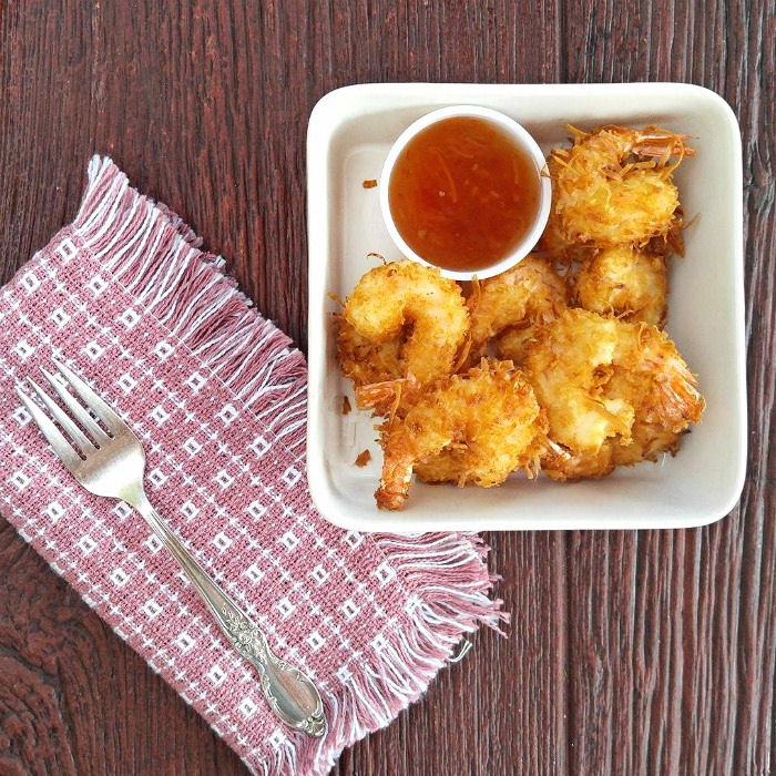 Beer battered coconut shrimp with a dipping sauce