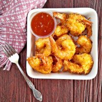 Close up of the beer battered coconut shrimp