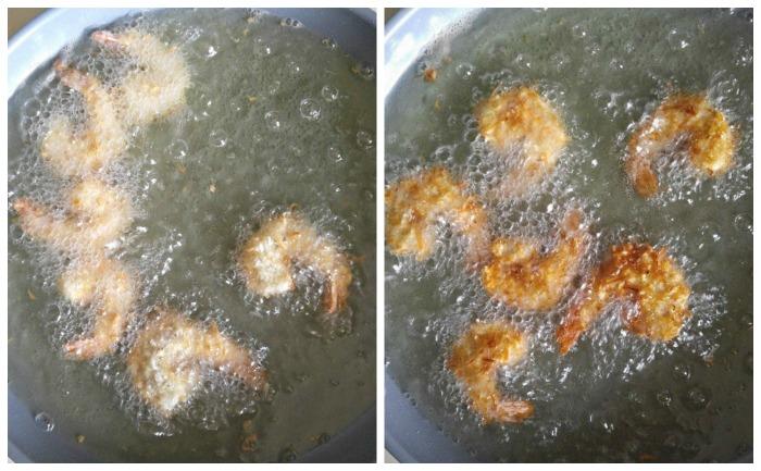 Frying the beer battered coconut shrimp