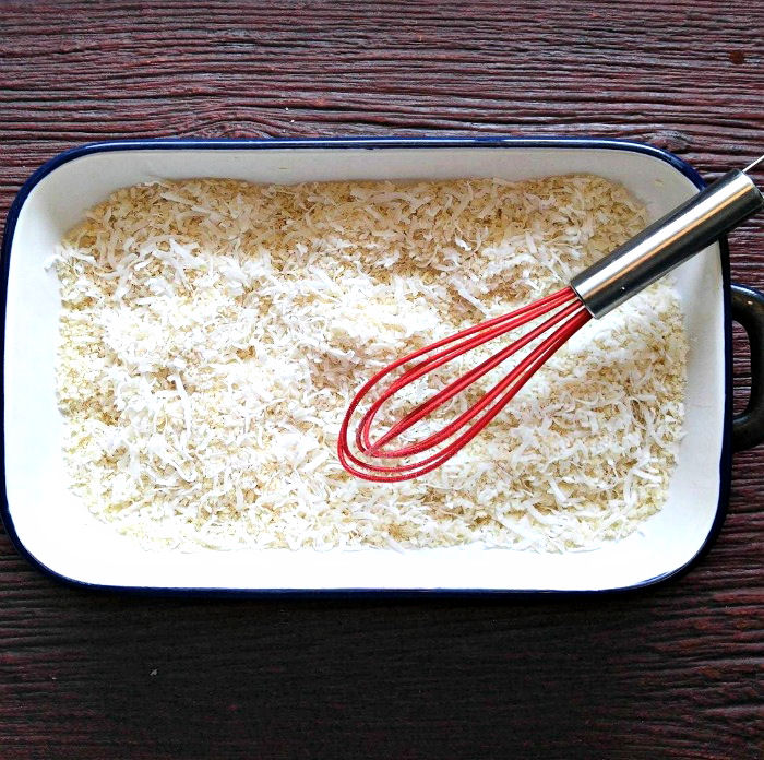 Mix the Panko and coconut well