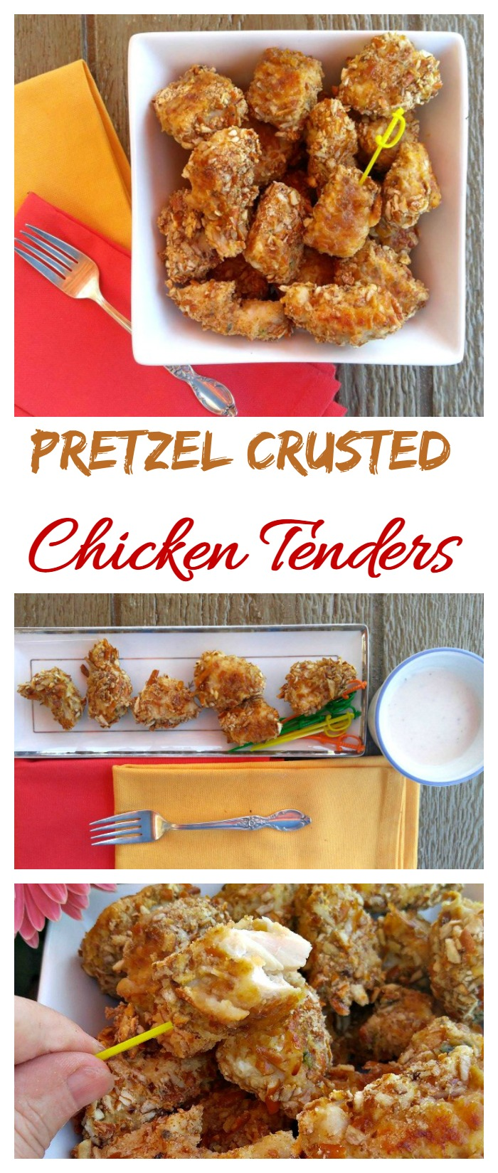 These amazing Pretzel crusted chicken tenders have a crunchy and salty coating with moist tender inside. They make a great main course or appetizer recipe