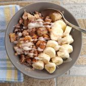 Whole30 Breakfast Bowl with bananas and almonds