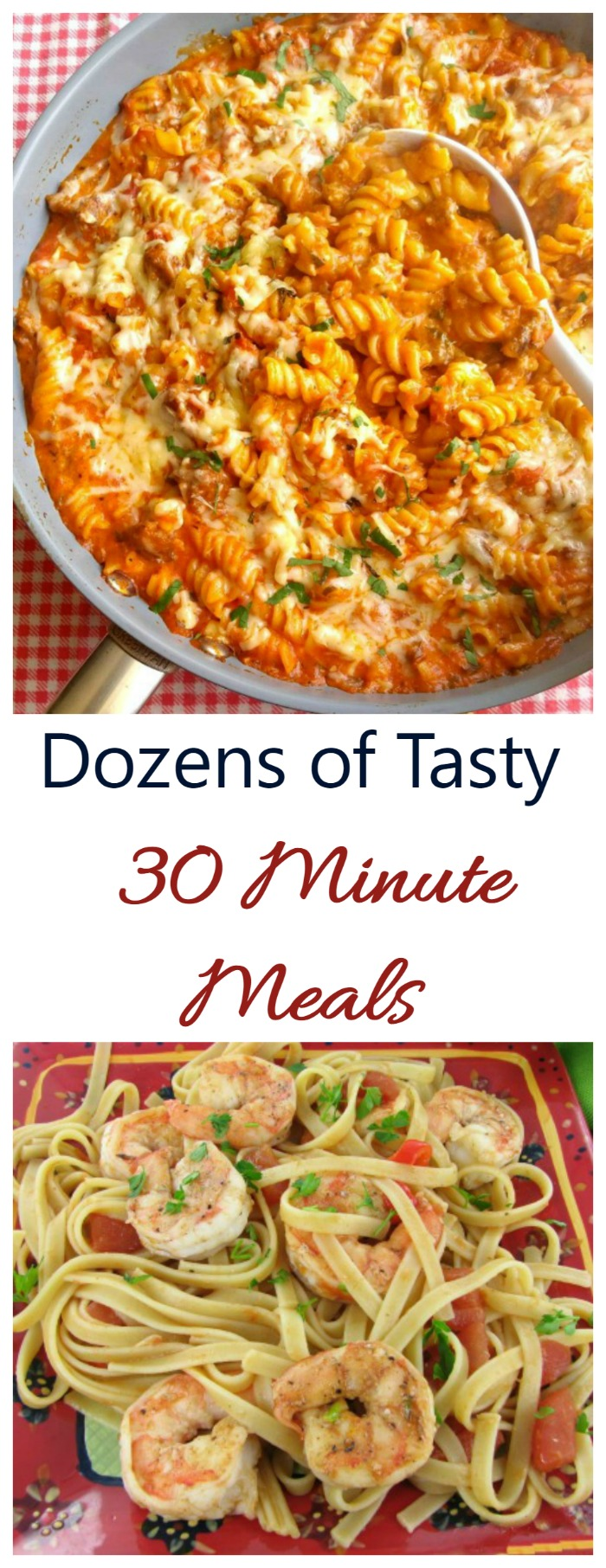 Browse my collection of dozens 30 minute meals featuring ideas for breakfast, lunch and dinner, as well as appetizers and desserts.