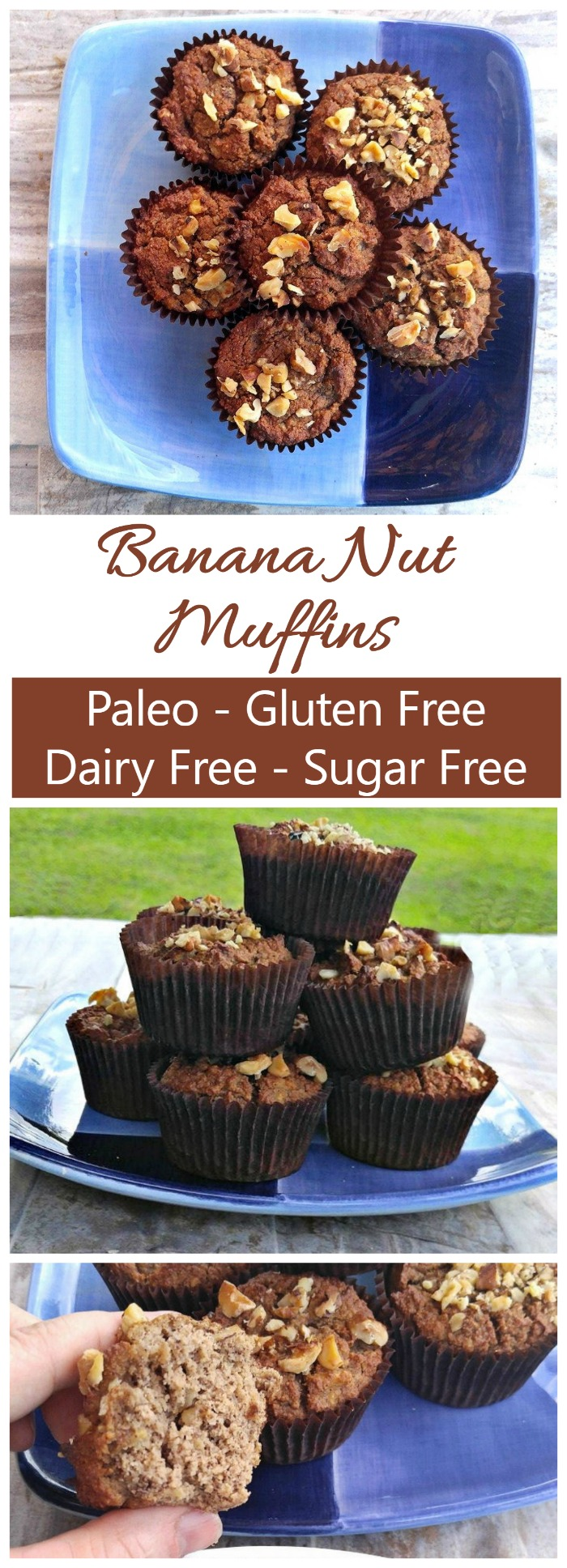 These Paleo banana nut muffins are perfect for a breakfast on the go. They are dairy free, sugar free and gluten free and super easy to make. Ripe bananas add the needed sweetness.