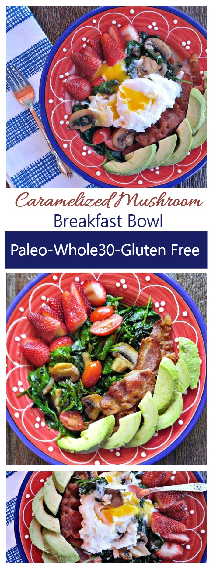 This caramelized mushroom breakfast bowl is a luscious combination of hearty goodness that is Paleo, Whole30, Dairy free and Gluten Free.