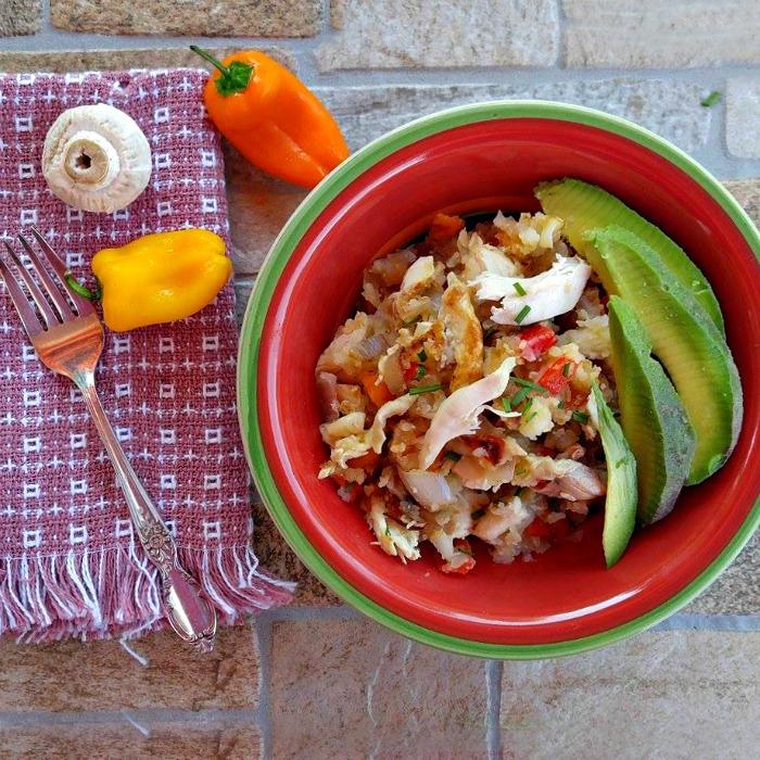 Chicken hash breakfast bowl