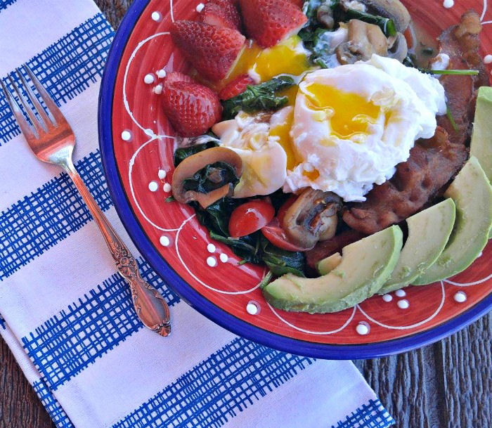 The egg in this breakfast idea oozes over the other layers