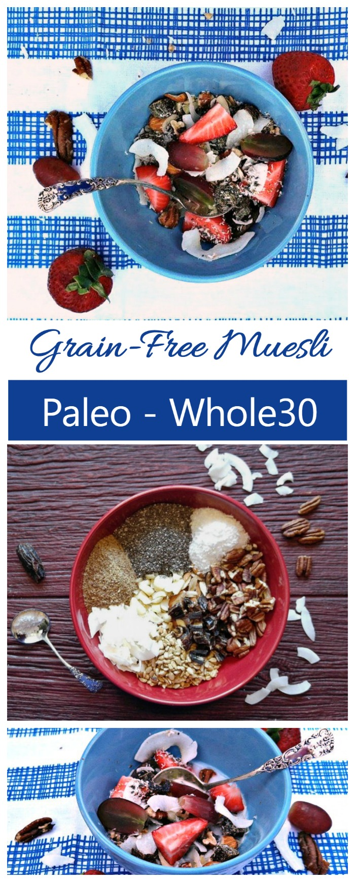 This grain free muesli is free of added sugars and packs a nutritious morning breakfast for those busy days when there is no time for a cooked breakfast.