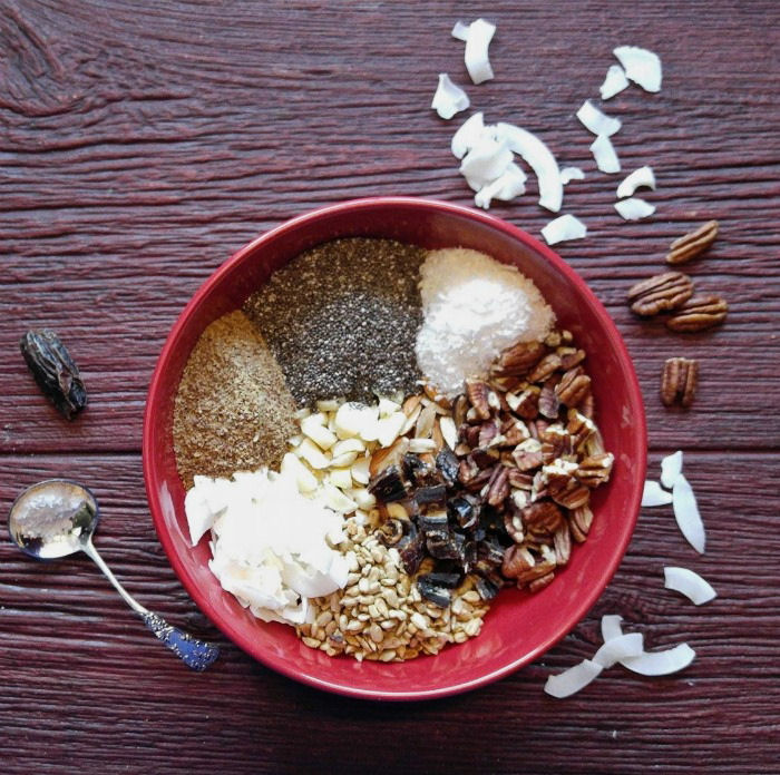 Nuts, seeds, coconut flakes and dried fruit makes a great tasting gluten free muesli.