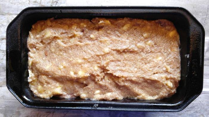 Paleo banana bread ready to cook