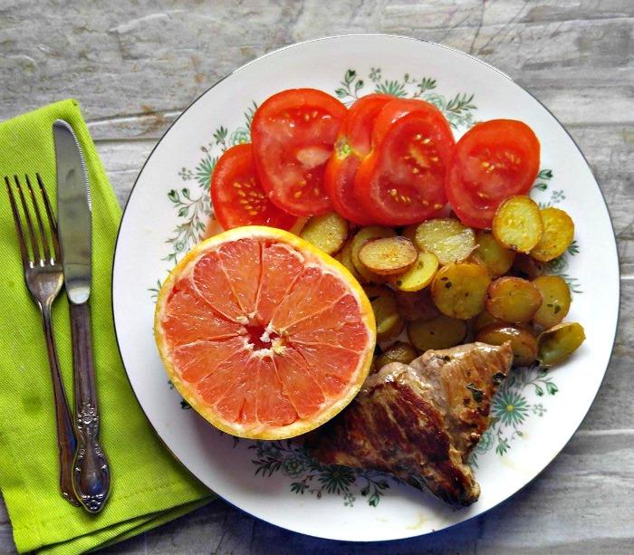 Grapefruit, steak and potatoes