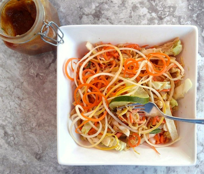 Almond butter dressing tastes great on spiralized noodles