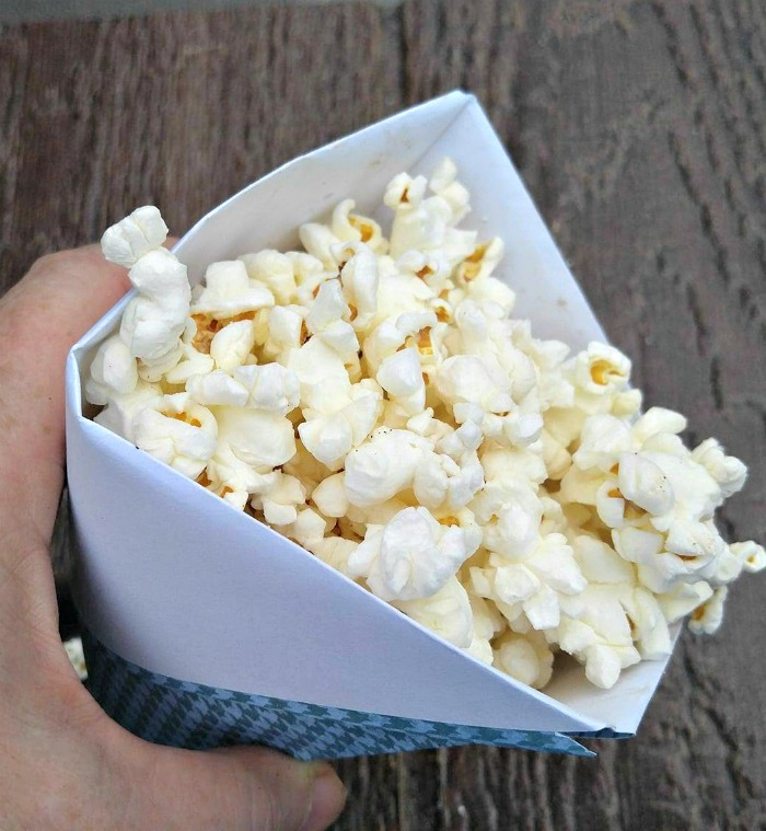 The paper cone is a great popcorn holder.