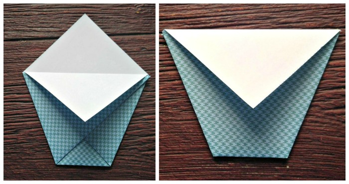 Fold the paper cone tips down the sides to make the opening