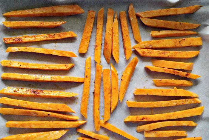 Lay out the sweet potato fries