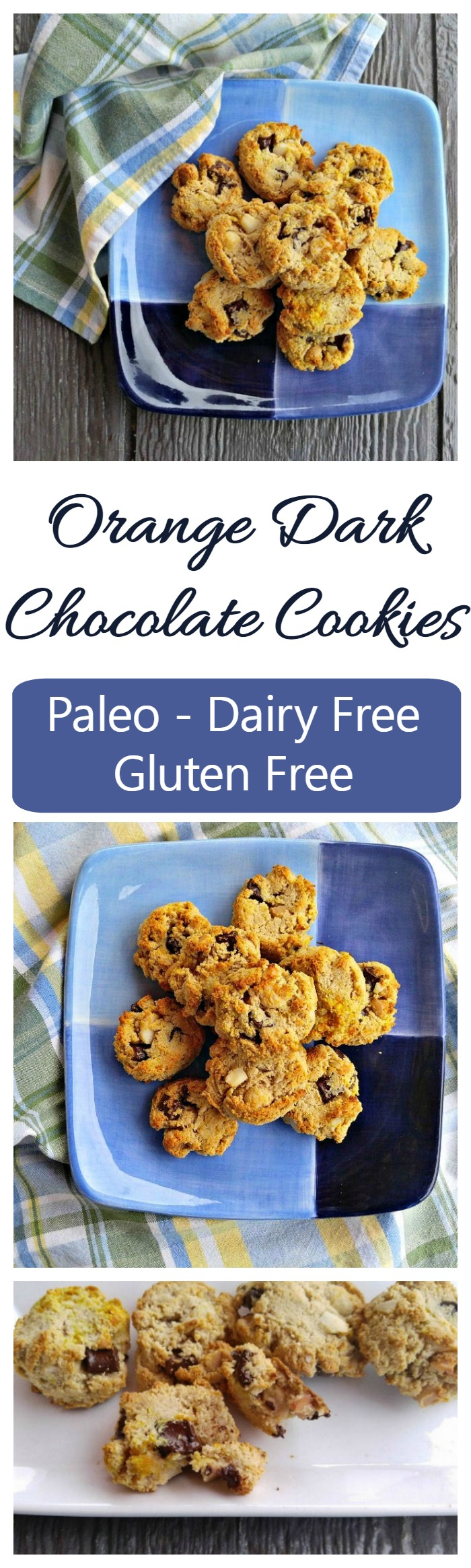These Orange dark chocolate cookies are dairy free, gluten free and have no added refined sugar. They fit perfectly into a Paleo diet.