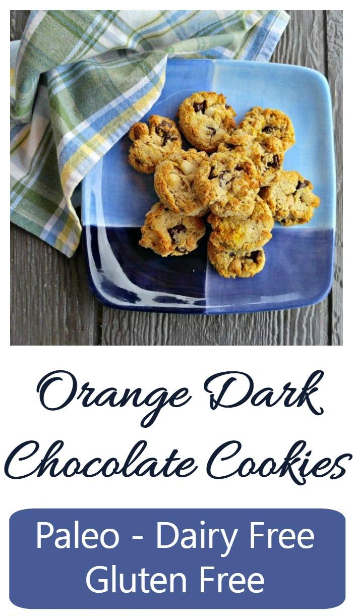 Orange dark chocolate cookies with macadamia nuts