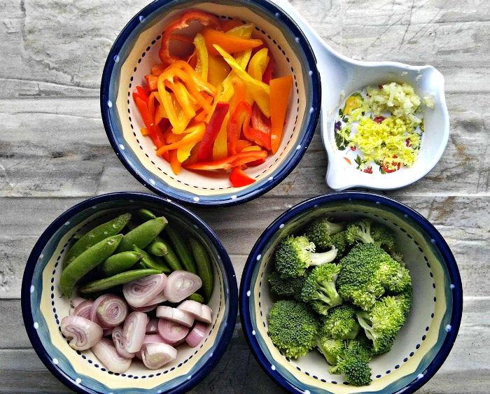 Prepped vegetables for teriyaki stir fry