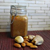 Bottle of almond butter dressing
