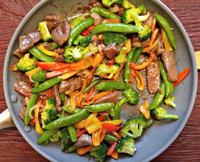 Beef and vegetables in a simple Paleo teriyaki sauyce