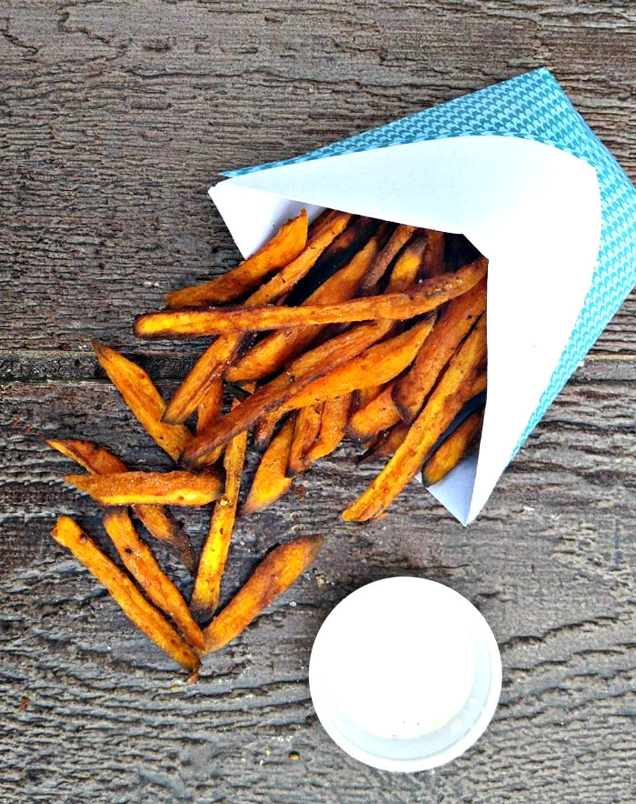 paper cone and sweet potato fries.