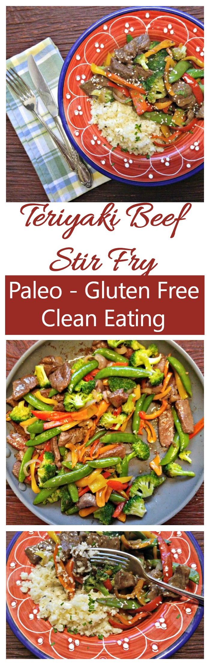 "This teriyaki beef stir fry is a clean eating recipe that fits a Paleo or gluten free diet. Cooked cauliflower makes the ""rice"" for a healthy version of this traditional favorite."