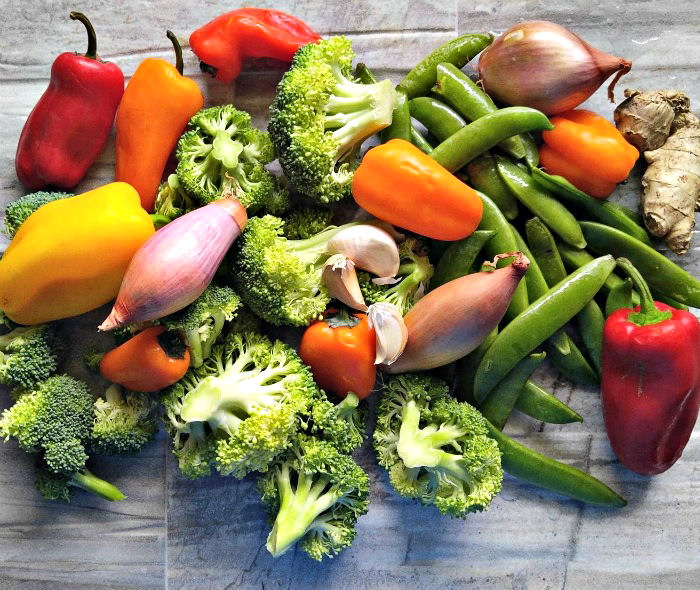 Vegetables for a stir fry are so colorful!