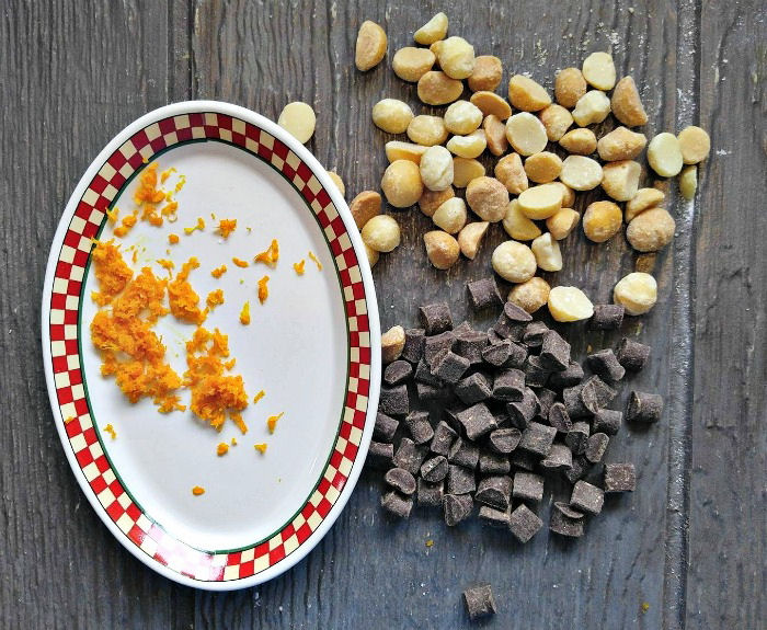 Orange zest, nuts and chocolate
