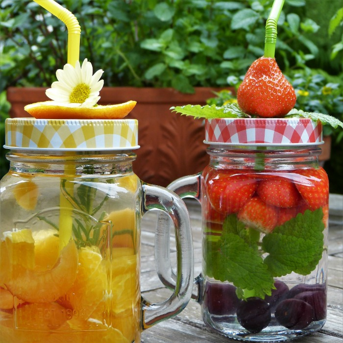 Covered mason jars
