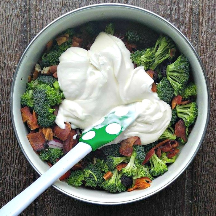 Add the salad dressing to the creamy broccoli salad
