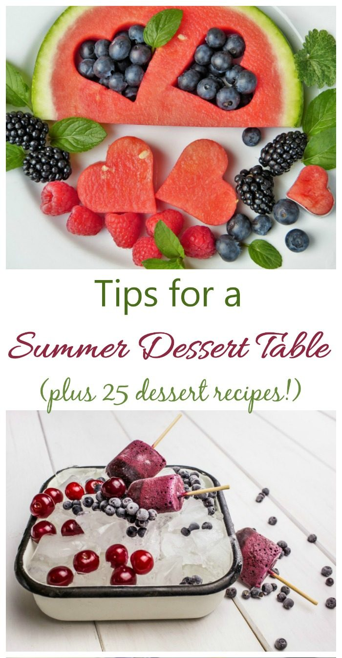 Watermelon with fruit and cold ice with desseserts in a collage with words Tips for a summer dessert table (plus 25 dessert recipes.)